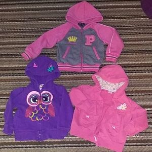 3 Toddler zip-up hoodies size 24m